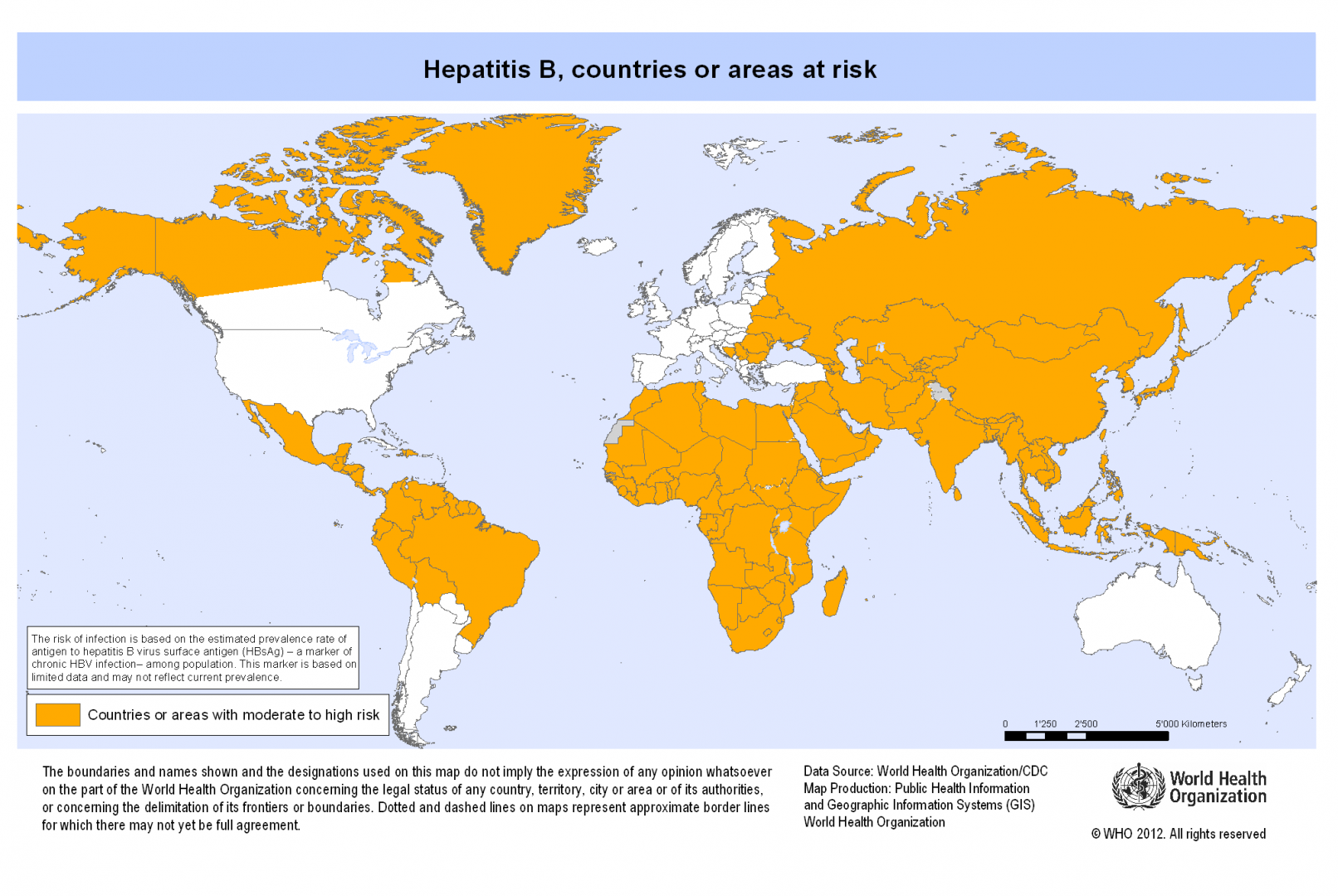 Hepatitis B countries at risk