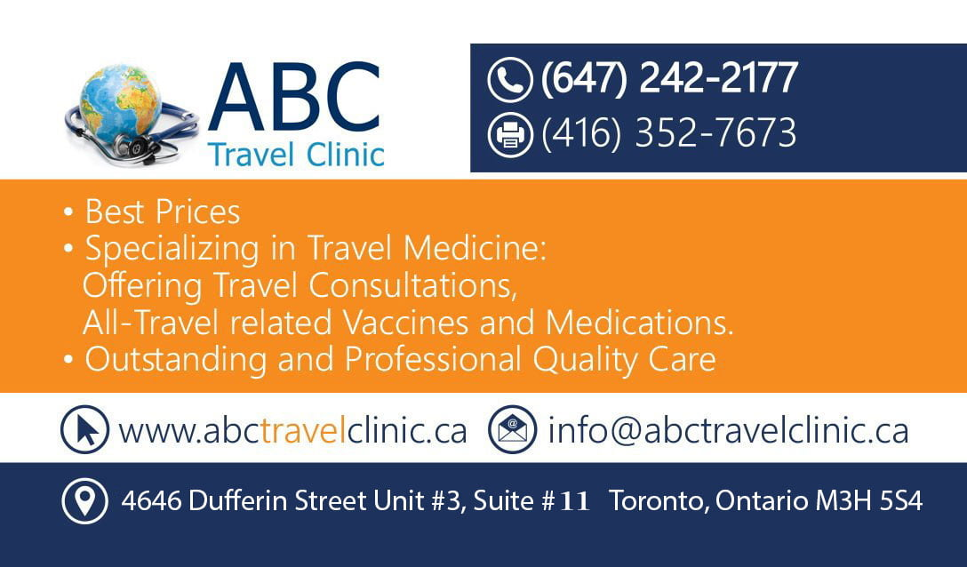 ABC Travel Clinic business card with contact information
